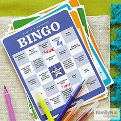 "Reunion Bingo: The quirky categories of this get-to-know-you game will prompt conversation and plain old silly fun. To play, print out our bingo cards and give one to each family member. Players circulate, searching out kin who can answer yes to a description (""Likes Lima Beans,"" for example), and having them sign the squares."