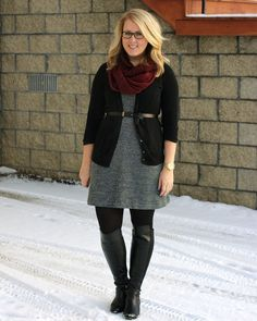 Dear Stylist, perfect Winter outfit.  A comfortable gray sweater dress can be styled in so many ways.