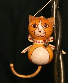 Whimsical cat gourd Christmas ornament with by GryphonsKeepFarm, $15.00