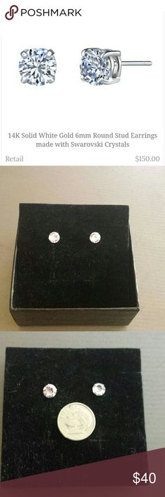 14K White Gold 6mm Swarovski Crystal Earrings. New Brand new beautiful 6mm round Swarovski Elements Crystal pierced earrings. The description in the pic says they come with a box but they did not. I found a used box for them that's not in perfect condition. See pic 8. My son bought them for his g/f then broke up with her. Good grief. They're really very pretty. Swarovski Jewelry Earrings