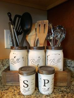 Utensil mason jar holder with salt and pepper shaker option, kitchen utensil holder, kitchen storage, mason jar storage - This utensils holder is the perfect addition to your rustic country kitchen…