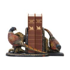 Beautifully colorful pheasants bookends.