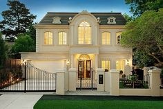 Fabulous home exterior with gorgeous architecture! French Architecture, Architecture Design, Future House, My House, Town House, House Front, French Style Homes, Transitional House, Facade House