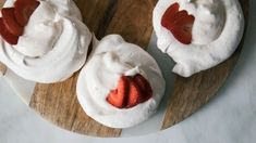 Mini strawberry pavlovas are your new go-to for a make ahead, special treat. More at PBS Food. Baking Recipes, Dessert Recipes, Strawberry Delight, Strawberry Desserts, Pbs Food, Australian Food, Spring Desserts, Pudding, Everyday Food