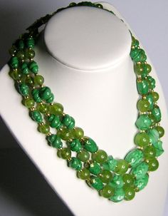 Vintage Three Strand Green Lucite Necklace by SwankyJewels on Etsy, €35.00