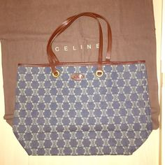 Celine Authentic Denim With Leather Trim Tote
