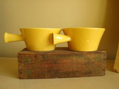 Vintage yellow soup bowls Soup Bowls With Handles, Vintage Yellow, Utensils, Cupboard, Spoon, Coffee Mugs, Pottery, Bright, Warm