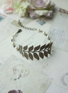 Brass Leaf Bracelet Antiqued Brass Branch Ivory Pearls by Marolsha