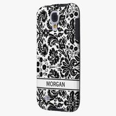 Awesome! This Samsung Custom Name Black Floral Damask Pattern is completely customizable and ready to be personalized or purchased as is. It's a perfect gift for you or your friends.