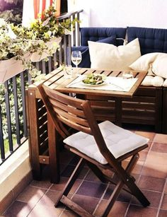 Patio furniture. Nice sitting area with foldaway table. Small enough the keep in closet when it hits rainy season. Love this!
