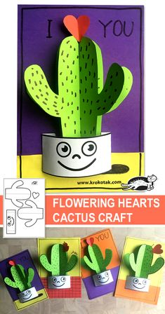 children activities, more than 2000 coloring pages Valentine's Day Crafts For Kids, Valentine Crafts For Kids, Valentines Diy, Diy For Kids, Fun Crafts, Paper Crafts, Cactus Craft, Mini Cactus, Cactus Cactus