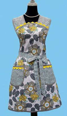 Womens Retro Apron – Vintage Inspired Retro Kitchen Apron With Pockets Grey Gray Blue Yellow Womens Retro Apron – Vintage Inspired Retro Kitchen Apron With Pockets Grey Gray Blue Yellow,Fun Retro Aprons. Retro Apron, Aprons Vintage, Retro Vintage, Blue Yellow Kitchens, Modern Floral Design, Blue Grey, Gray, Apron Pockets, Kitchen Aprons