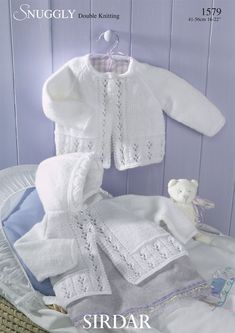 Matinee Coats in Sirdar Snuggly DK - Discover more Patterns by Sirdar Snuggly at LoveCrafts. From knitting & crochet yarn and patterns to embroidery & cross stitch supplies! Sirdar Knitting Patterns, Baby Cardigan Knitting Pattern Free, Baby Sweater Patterns, Knitted Baby Cardigan, Knit Baby Sweaters, Baby Patterns, Knitting Yarn, Cardigan Bebe, Crochet Baby Clothes