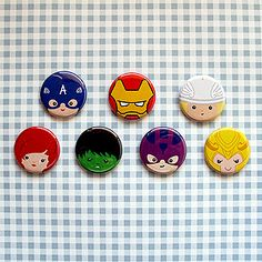 Avengers favors: Avengers Buttons/Magnets As someone who obsessed with buttons, these buttons are adorable and geeky in the best possible way.  #Geek Crafts|Tag Archive|buttons