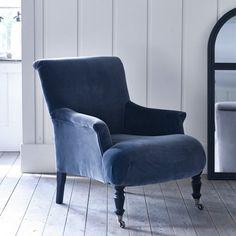 Finley Velvet Armchair, Slate Grey
