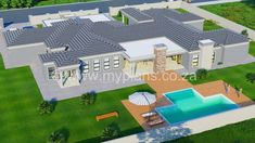 4 Bedroom House Plan - My Building Plans South Africa Tuscan House Plans, My House Plans, My Building, Building Plans, Architect Fees, Windows And Doors, Front Doors, 4 Bedroom House Plans, Construction Drawings