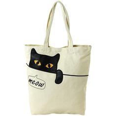 Look at this Sleepyville Critters Peeking Black Cat Canvas Tote Bag on t. - Look at this Sleepyville Critters Peeking Black Cat Canvas Tote Bag on t… Schauen Sie si - Diy Bag Designs, Cat Bag, Cat Purse, Diy Tote Bag, Denim Bag, Fabric Bags, Knitted Bags, Canvas Tote Bags, Canvas Purse