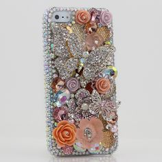 Bling Cases, Handmade 3D crystals Butterfly Flower design case for iphone 5, iphone 5s, iphone 6, Samsung Galaxy S4, S5, Note 2, Note 3, LG, HTC, Sony – LuxAddiction.com