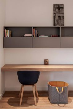 minimalist home office in natural wood and grey