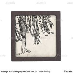 Shop Vintage Black Weeping Willow Tree Jewelry Box created by TheBrideShop. Tree Line Tattoo, Willow Tree Tattoos, Willow Leaf, Weeping Willow, Wood Burning Patterns, Keepsake Boxes, Leaf Tattoos, Small Tattoos, Art Inspo
