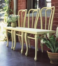 On the bench Three chairs with worn-out seats could easily be seen as trash, but instead they were transformed into a one-of-a-kind bench, simply by screwing a plank to their bases.