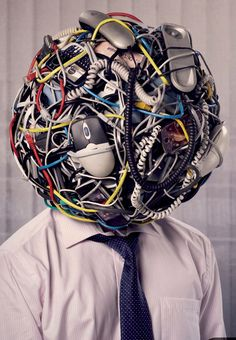 While this more closely resembles my desk top, it's an excellent idea for a mannequin/form head treatment. BestBuy, anyone?