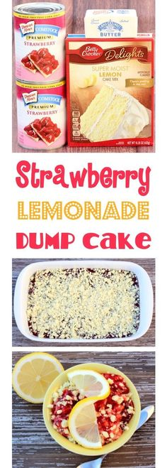 Strawberry Dump Cake Recipes are SO simple, and one of my favorite desserts! This EASY Strawberry Lemonade Dump Cake Recipe will have your friends and family begging for seconds! The perfect end to a Summer day! Cake Pops, Cake Mix Cookies, Cupcakes, Strawberry Lemonade Cake, Strawberry Cake Recipes, Lemonade Cake Recipe, Köstliche Desserts, Holiday Desserts, Dessert Recipes