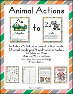 Movement and Math Animal Action Freebie - Your Therapy Source Motor Skills Activities, Educational Activities For Kids, Gross Motor Skills, Math Skills, Sensory Activities, Physical Activities, Alphabet Activities, Sensory Play, Improve Your Handwriting