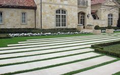 Driveway - large linear stone bands with grass spacing - Harold Leidner Co. - Landscape Architects