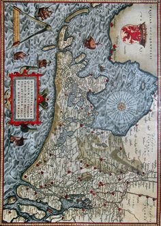 century - Hollandia - Map by the Dutch cartographerJacob van Deventer Kampen, The Netherlands - 1575 Cologne, Germany). Holland Map, Old Maps, Historical Maps, Cartography, 16th Century, Archaeology, Netherlands, City Photo, Cologne Germany