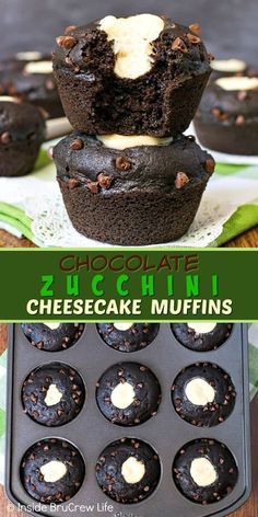 Chocolate Zucchini Cheesecake Muffins - a cheesecake center and chocolate chips makes these delicious zucchini muffins a hit with everyone. Try this easy recipe for breakfast or as an after school snack! Muffin Recipes, Cupcake Recipes, Baking Recipes, Cupcake Cakes, Cookie Recipes, Dessert Recipes, Scones, Zuchinni Recipes, Zucchini Bread