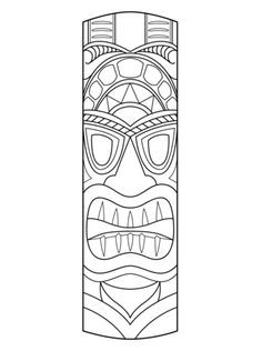 Tiki Mask Coloring page