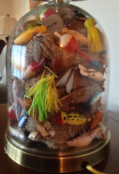 Great way to display my Dad's old fishing lures.