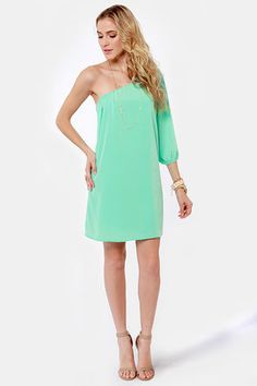 Wore this to my girlfriend's wedding last month.  Great summer dress.  One Shoulder Mint Green Dress at LuLus.com!  $38.00