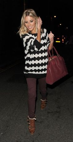 I never would have thought of the burgundy pants with black and white sweater but it's so cute on Mollie King. #fall