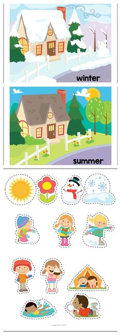 Summer Preschool Centers. Sorting winter and summer symbols and activities.