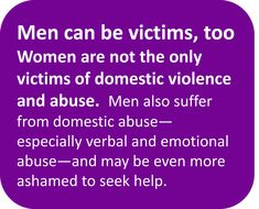 All domestic abuse is wrong - I genuinely know more men who have been victims of domestic abuse than women, and while the idea of women=victims/men=abusers persists men remain victims. Give Them A Voice is an advocacy foundation, dedicated to raising awarness of the impact and long term effect of sexual abuse on boys as they grow into men. www.noworkingtitle.org