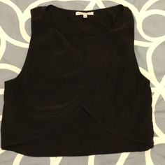 Rebecca Minkoff crop top, Size M Black crop top, with draping in the front. 100% silk. Rebecca Minkoff Tops Crop Tops