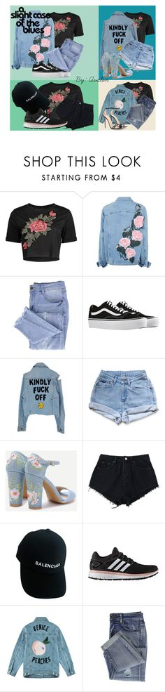 """""""Avalon's Look Book #6: A Slight Case Of The Blues"""" by lilaparks on Polyvore featuring Essie, Vans, Levi's, Balenciaga, adidas, Être Cécile and Gucci"""