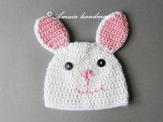 Szydełkowa czapka - króliczek - Amaia-handmade - Czapeczki dla niemowląt