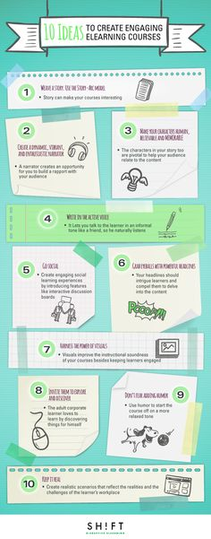 10 Ideas to Create Engaging eLearning Courses Infographic - http://elearninginfographics.com/10-ideas-create-engaging-elearning-courses-infographic/