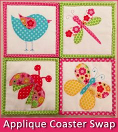 Come join the fun! Applique Coasters Swap: http://quiltinggallery.com/quilters-fun/applique-coasters-swap/