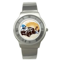 Vw Car Surfer Graphic Logo Stainless Steel Watch