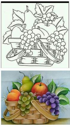 Fruit Painting, Fabric Painting, Painting & Drawing, Art Drawings For Kids, Easy Drawings, Art For Kids, Basket Drawing, Artist Card, Quilling Patterns