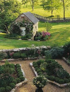 I love the gravel paths and rolling green lawn with the meadow beyond.