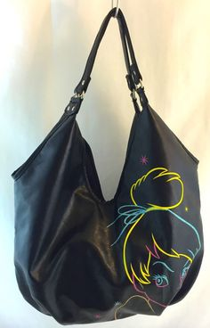 Disney Tinkerbell Fairy Purse Sparkly Large Hobo Black Pvc Shoulder Bag