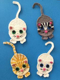 Crochet Motif Here's a free crochet cat pattern and crochet tutorial. Get the crochet pattern at Kerri's Crochet. Crochet Applique Patterns Free, Crochet Bookmark Pattern, Crochet Cat Pattern, Cat Applique, Crochet Bookmarks, Crochet Motif, Crochet Flowers, Crochet Stitches, Crochet Appliques