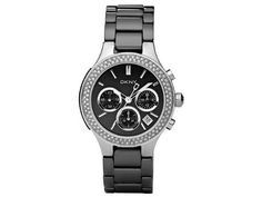 DKNY Ladies Black Ceramic Strap with Stainless Steel Case