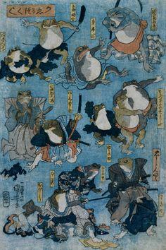 <かゑるづくし :  KAERU ZUKUSHI>  FAMOUS HEROES OF THE KABUKI STAGE PLAYED BY FROGS  KUNIYOSHI UTAGAWA  1798-1861  Last of Edo Period