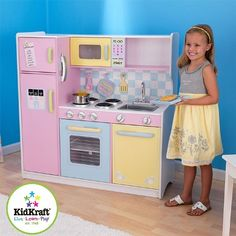 Kidkraft Large Pastel Kitchen by Kidkraft Ireland is now available from JellyBeanGroup now! Kidkraft Large Pastel Kitchen has fantastic features for your play kitchen. Wooden Play Kitchen, Kids Play Kitchen, Toy Kitchen, Wooden Kitchens, Kitchen Oven, Kitchen Ideas, Play Kitchens, Kidkraft Kitchen, Games